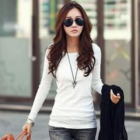 High Quality Cotton Tshirt Autumn Fashion Elegang Long Sleeve Basic Tops Warm Casual Women Clothes Slim Camiseta Feminina 9165