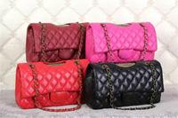 2014 new luxury women messenger shoulder bag brand cc chain lady fashion double c handbag 100% top grade genuine leather gift