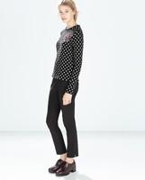 2014 New arrival Ladies' elegant polka dot heart sequins Pullovers long sleeve Casual slim t-shirt brand design tops