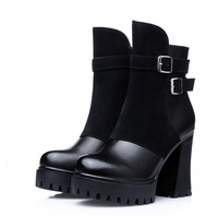 2014 genuine leather women boots new fashion women motorcycle boots and women's high-heeled boots winter shoes A272