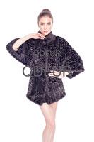 2014 Female Fashion Real Knitted Mink Fur Jacket Coat Winter Women Fur Outerwear Coats Batwing Sleeve Overcoat QD80149