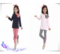 New 2014 Children Clothing Sets Autumn / Winter Girls Clothes Long Sleeve Cotton Bowknot Striped Shirt + Pant Suit Free Shipping