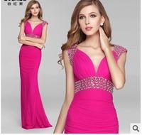 Free shipping 2014 hot fashion slim deep V sexy hip pack elegant evening dress long ball gowns