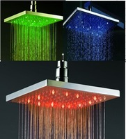 square 16'' inch 400x400mm stainless steel LED rain shower with blue green red color led light
