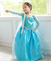 New 2014 Winter Frozen  Kids Dress  Elsa Princess Costume Girls Halloween Christmas Gold print Dress