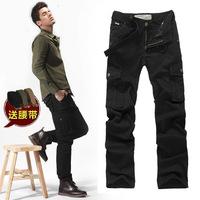 new antumn men soild Loose casual pock straight leg jeans pants tide have 4color