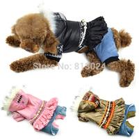 FashionPets Small Dog Puppy Cotton Snowflake Pearl Chain Print Xmas Coat Clothes XS-XXL FreeShipping