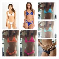 Sexy Lace Hollow VS Swimwear Women Brand Designer Bikini 2014 New Vintage Bathing Suit Push Up Bikinis Set Pad Bandage Swimsuit