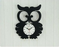 Hot-selling acrylic wall clock funny owl shape child's room decoration personalized home decoration silent movemnt