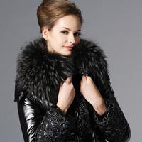 New arrival medium-long high quality luxury raccoon large fur collar slim down fur coat women plus size 1001