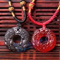 Personalized red agate natural obsidian pi xiu ping button pendant lovers accessories amucks apotropaic
