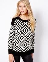 2014 New arrival Ladies' elegant geometric print  pullovers  Casual slim O-neck long Sleeve Knit sweater brand design Tops
