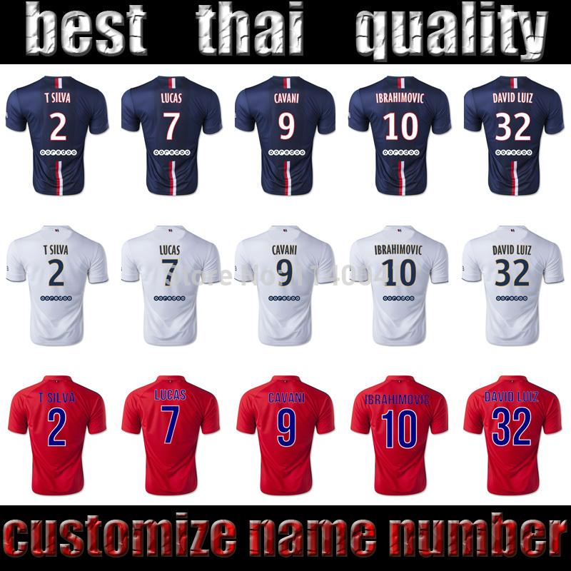 2015 IBRAHIMOVIC CAVANI DAVID LUIZ T SILVA LUCAS home blue third away red white thai quality 14 15 IBRAHIMOVIC soccer jerseys(China (Mainland))