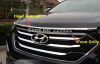 Chrome Hood Garnish + Front Grille Around Trim For 2013 2014 Hyundai Santa Fe IX45
