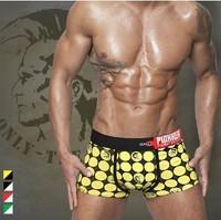 Shinning  Men Underwear  Comfortable Cotton Dot Boxer Trunks  Sexy Low Waist U Convex Boxer Shorts-Free Shipping