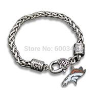 Zinc Alloy Antique Silver Denver Broncos Pendants Bracelet Casual Sporty