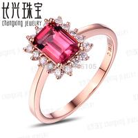 Beautiful~~ 10k Rose Gold 1.28ct Pink Tourmaline & Natural Diamond Engagement Ring Fine Jewelry