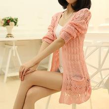 mode strickjacke lose tasche hohlen langarm frauen pullover weiblich strickjacken damenjacken pullover yf9581 oberbekleidung(China (Mainland))