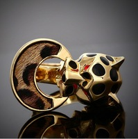 Origin of quality assurance in Europe and the United States 8 ring alloy electroplating retro leopard ring