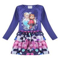 2014 New Design Cartoon Frozen Clothes Baby Girls frozen dress Elsa Anna Kids Party dresses Baby Printed Dresses Princess Dress