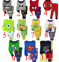 hot selling baby 2014 NEW Superman, Batman, Spiderman, Minions, Mike Boy Pure cotton underwear suits Kids Pajama sets PJS