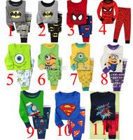 hot selling baby 2014 NEW Superman, Batman, Spiderman, Minions, Mike Boy Pure cotton underwear suits Kids Pajama sets PJS