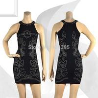 2014 New BLACK bead CUT OUT o MINI Bandage Dress Sexy Sleeveless evening dress Club Night HL party Celebrity Dress Wholesale
