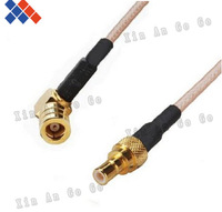 Wholesale 10pcs RF connector SMB male to SMB female right angle type RG316 Pigtail Cable 15CM Free shipping