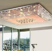 Led color light rectangular chandelier living room modern romantic lighting low voltage crystal lamp bedroom lamps(China (Mainland))