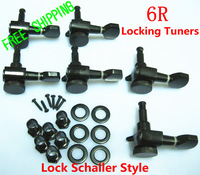 6set/lot NEW Locking Tuners Tuning Pegs Machine Heads 6 Right Handed Inline Black with Lock Schaller Style