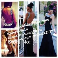 Free Shipping A-line Rhinestone Chiffon Long Prom Dresses Custom Made Black Prom Dress Long Sexy Backless Plus Size Party Dress