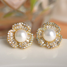 2015 New Colar Feminino Copper Brinco Brand Bridal Wedding Stud Earrings Pearl Jewelry Nice Marriage Anniversary Brincos Bijoux