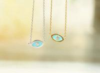 2014 fashion Silver /Gold Unique Evil Eye with CZ charm necklace tiny Evil Eye pendant necklace statement Necklace For wamen