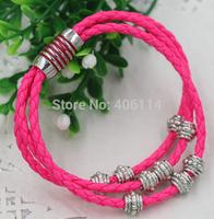 NEW mic Infinity Wrap Wristband Cuff Punk Enamel Magnetic Clasps Chains Beaded Leather Bracelets Bangles 17cm 19cm 21cm 57colors