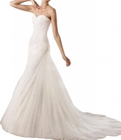 Sweetheart Pure White Ruffle Draped Trailing Back Zipper up Open Back Formal Organza Special Occasions Wedding Dresses
