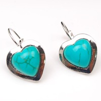 FREE SHIPPING!The New Arrival Retro Tibetan Silver Turquoise Heart Shape Eardrop Charms Dangle Hook Earrings