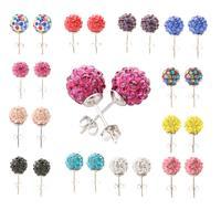 Free Shipping+No Minimum Spending&Colorful spherical gem earrings&twelve colors