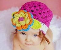 On Sale! Newborn Baby Girl Crochet Winter Hat Rose Color Flowers Beanies Skullies Hat Infant Handmade Knitted Warm Cap Hat