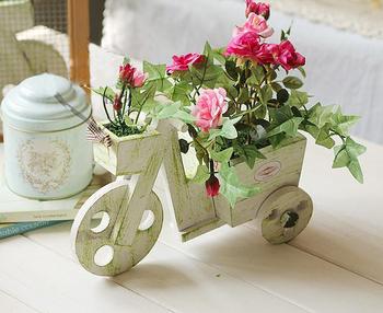 Искусственный розы велосипед автомобиль завод держатель внутренних дел свадьба DIY декор