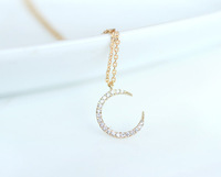 Silver /Gold  Simple Crescent Moon with CZ  charm necklace tiny Crescent Moon pendant necklace new jewelry For wamen