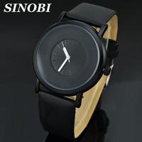 Sinobi Brand Japan Movt Quartz Time Wristwatch Men Fashion Style Leather Strap Gift Watch Men Clock 30M waterproof Relogio