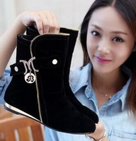 Winter autumn soft nubuck leather ankle boots Flat Heel Casual Women's Motorcycle Boots Lady Suede Martin Boot  Rivets zipper