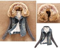 Hot! 2014 New women Fur Demin jacket autumn winter patchwork jacket slim overcoat plus size