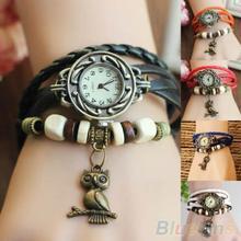 Women Girls Retro Braided Leather Bracelet Owl Decoration Quartz Wrist Watch