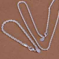 Free Shipping Wholesale 925 silver jewelry set, fashion jewlery set Twisted Line Two-Piece Jewelry Set S051