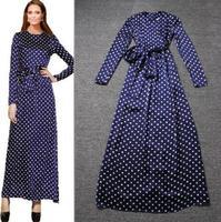 High Quality Runway Maxi Dress Women's Polka Dot Print Bow Lacing Long-sleeve Mopping Floor Elegant Full Dress