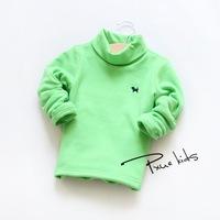 plus velvet high collar embroidered puppy girls T shirt 14 new winter thickening primer shirt Korean children's clothing