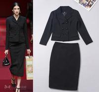Famous Brand Runway Blazer Skirt Suit Set 2014 New Fall Winter Women's Elegant Coat+Slim Pencil Skirt Set Work 2Pcs Clothing Set