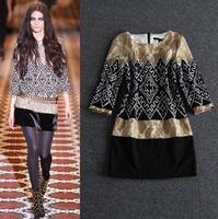 Top Grade New Collection Fashion 2014 Women Warm Winter Wool Dress Lace Patchwork Vintage Dress Desigual Woman One-Piece Dress