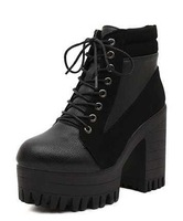 Free shipping 2014 Vingtage Cool Shoe Gothic Lace Up Chunky Heels High Platform Ankle Boots Flock Motorcycle Boot Eur 35-39